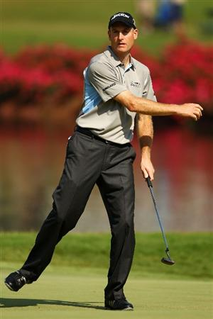 PONTE VEDRA BEACH, FL - MAY 06:  Jim Furyk reacts to a putt on the 16th green during the first round of THE PLAYERS Championship held at THE PLAYERS Stadium course at TPC Sawgrass on May 6, 2010 in Ponte Vedra Beach, Florida.  (Photo by Richard Heathcote/Getty Images)