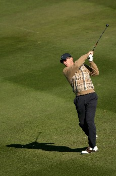 PEBBLE BEACH, CA - FEBRUARY 8:  Broadcaster Stone Phillips hits his second shot on the sixth hole during the second round of the AT&T Pebble Beach National Pro-Am on February 8, 2008 at Pebble Beach Golf Links in Pebble Beach. California.  (Photo by Stephen Dunn/Getty Images)