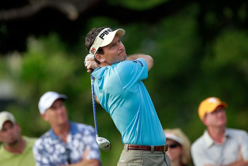 HONOLULU, HI - JANUARY 16:  Mark Wilson plays a shot on the 15th hole during the final round of the Sony Open at Waialae Country Club on January 16, 2011 in Honolulu, Hawaii.  (Photo by Sam Greenwood/Getty Images)