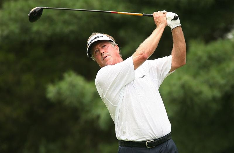 BETHESDA, MD - JULY 05:  Michael Allen hits his tee shot on the third hole during the final round of the AT&T National at the Congressional Country Club on July 5, 2009 in Bethesda, Maryland.  (Photo by Hunter Martin/Getty Images)