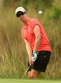 MT. PLEASANT, SC - MAY 30:  :  Karrie Webb of Australia pitches to the 14th green  during the second round of the Ginn Tribute at RiverTowne Country Club on May 30, 2008 in Mt. Pleasant, South Carolina.  (Photo by Scott Halleran/Getty Images)
