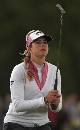 LYTHAM ST ANNES, ENGLAND - JULY 31:  Paula Creamer of USA reacts to a missed putt on the 12th green during the second round of the 2009 Ricoh Women's British Open Championship held at Royal Lytham St Annes Golf Club, on July 31, 2009 in  Lytham St Annes, England.  (Photo by Warren Little/Getty Images)