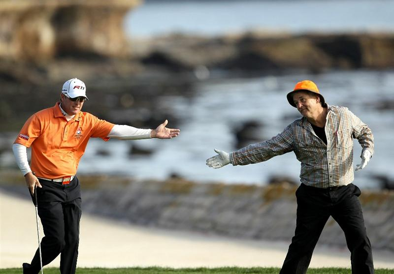 PEBBLE BEACH, CA - FEBRUARY 13:  Actor Bill Murray bows to his playing partner and tournament winner, D.A. Points, as they walk up the 18th fairway during the final round of the AT&T Pebble Beach National Pro-Am at the Pebble Beach Golf Links on February 13, 2011 in Pebble Beach, California.  (Photo by Ezra Shaw/Getty Images)