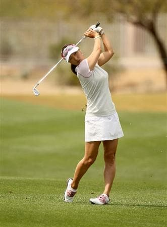 PHOENIX, AZ - MARCH 18: Grace Park of South Korea hits her second shot on the 10th hole during the first round of the RR Donnelley LPGA Founders Cup at Wildfire Golf Club on March 18, 2011 in Phoenix, Arizona. (Photo by Stephen Dunn/Getty Images)