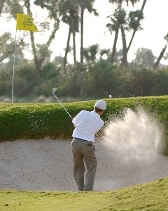 Mark Brooks blasts from a bunker  during the second round of the 2006 Honda Classic March 10  at the Country Club at Mirasol in Palm Beach Gardens, Florida.Photo by Al Messerschmidt/WireImage.com