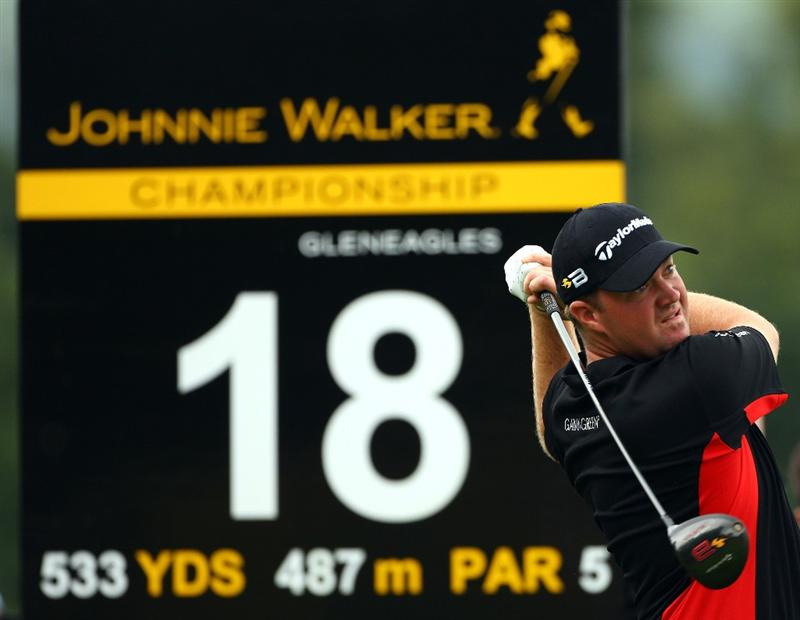 PERTH, UNITED KINGDOM - AUGUST 30:  Peter Hanson of Sweden tees off on the 18th hole during the third round of The Johnnie Walker Championship at Gleneagles on August 30, 2008 at the Gleneagles Hotel and Resort in Perthshire, Scotland.  (Photo by Andrew Redington/Getty Images)