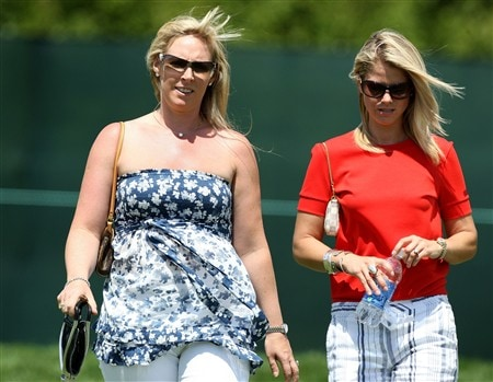 BLOOMFIELD HILLS, MI - AUGUST 07:  (L-R) Caroline Harrington and Carminita Immelman walk together during round one of the 90th PGA Championship at Oakland Hills Country Club on August 7, 2008 in Bloomfield Township, Michigan.  (Photo by David Cannon/Getty Images)
