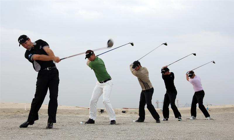 ABU DHABI, UNITED ARAB EMIRATES - JANUARY 13:  (L-R) Padraig Harrington of Ireland, Henrik Stenson of Sweden, Paul Casey of England, Sergio Garcia of Spain and Robert Allenby of Australia hit a tee shot on the new under construction 'Gary Player' golf course during a photo call on the Saadiyat Island prior to the Abu Dhabi Golf Championship at the Abu Dhabi Golf Club on January 13, 2009 in Abu Dhabi, United Arab Emirates.  (Photo by Ross Kinnaird/Getty Images)