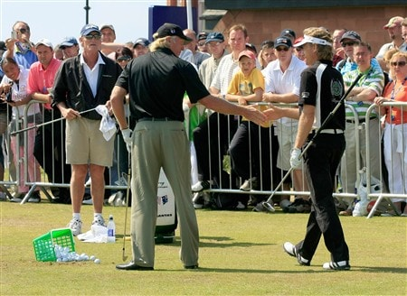 TROON, UNITED KINGDOM - JULY 27:  Greg Norman of Australia and Bernhard Langer of Germany on the practice ground during the final round of the Senior Open Championship at Royal Troon on July 27, 2008 in Troon, Scotland  (Photo by Phil Inglis/Getty Images)