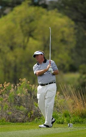 PARKER, CO. - MAY 16:   Joey Sindelar tees off the 13th hole during the first round of the Senior PGA Championship at the Colorado Golf Club  on May 27, 2010 in Parker, Colorado.  (Photo by Marc Feldman/Getty Images)