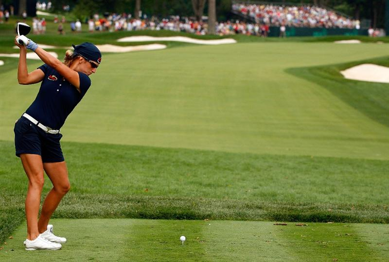 BETHLEHEM, PA - JULY 11:  Giulia Sergas of Italy hits her tee shot on the tenth hole during the third round of the 2009 U.S. Women's Open at the Saucon Valley Country Club on July 11, 2009 in Bethlehem, Pennsylvania.  (Photo by Scott Halleran/Getty Images)