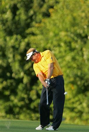 TIMONIUM, MD - OCTOBER 12: Fred Funk hits his second shot on the 18th hole during the final round of the Constellation Energy Senior Players Championship at Baltimore Country Club East Course held on October 12, 2008 in Timonium, Maryland (Photo by Michael Cohen/Getty Images)