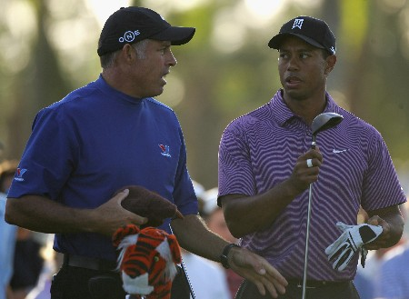 MIAMI - MARCH 19:  Tiger Woods of the USA speaks with his caddie Steve Williams during practice for the 2008 World Golf Championships CA Championship at the Doral Golf Resort & Spa, on March 19, 2008 in Miami, Florida.  (Photo by Warren Little/Getty Images)