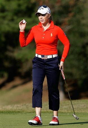 SHIMA, JAPAN - NOVEMBER 06:  Morgan Pressel of United States acknowledges the crowd on the 16th hole during round two of the Mizuno Classic at Kintetsu Kashikojima Country Club on November 6, 2010 in Shima, Japan.  (Photo by Chung Sung-Jun/Getty Images)