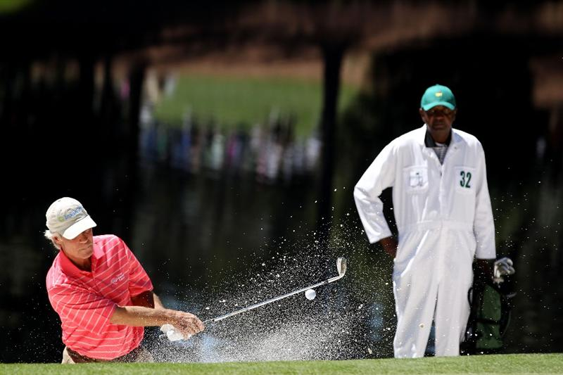 AUGUSTA, GA - APRIL 06:  Ben Crenshaw hits from a bunker during the Par 3 Contest prior to the 2011 Masters Tournament at Augusta National Golf Club on April 6, 2011 in Augusta, Georgia.  (Photo by Andrew Redington/Getty Images)