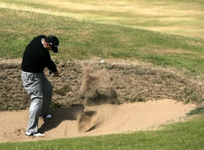 Loren Roberts (US) hits out of a bunker on the seventh hole during the final round of the 2006 Senior British Open at the Westin Turnberry resort in Ayrshire, Scotland on July 30, 2006.Photo by Matthew Harris/WireImage.com