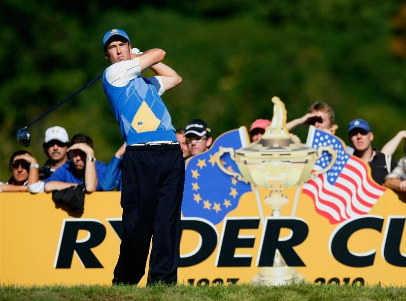 NEWPORT, WALES - OCTOBER 04:  Ross Fisher of Europe tees off in the singles matches during the 2010 Ryder Cup at the Celtic Manor Resort on October 4, 2010 in Newport, Wales.  (Photo by Tom Dulat/Getty Images)