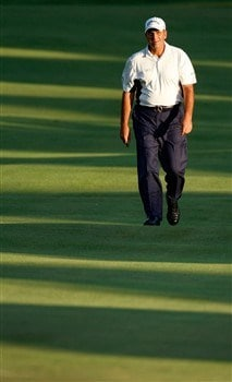 BLOOMFIELD HILLS, MI - AUGUST 07:  Rocco Mediate walks up the fairway on the 18th hole during round one of the 90th PGA Championship at Oakland Hills Country Club on August 7, 2008 in Bloomfield Township, Michigan.  (Photo by Gregory Shamus/Getty Images)