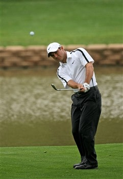 IRVING, TEXAS - APRIL 24: Trevor Immelman of South Africa chips onto the 14th green during the first round of the EDS Byron Nelson Championship at TPC Four Seasons Resort Las Colinas April 24, 2008 in Irving, Texas.  (Photo by Stephen Dunn/Getty Images)