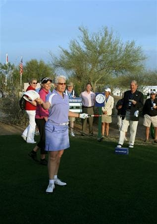 PHOENIX, AZ - MARCH 18:  LPGA Hall of Fame golfer Patty Sheehan racts after hitting her tee shot on the first hole as she plays an honorary round during the first round of the RR Donnelley LPGA Founders Cup at Wildfire Golf Club on March 18, 2011 in Phoenix, Arizona.  (Photo by Stephen Dunn/Getty Images)