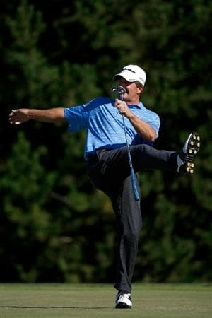 SUNRIVER, OR - AUGUST 21:  Fred Funk reacts to missing a birdie putt on the 17th hole during the second round of the Jeld-Wen Tradition on August 20, 2009 at the Crosswater Club at Sunriver Resort in Sunriver, Oregon.  (Photo by Jonathan Ferrey/Getty Images)