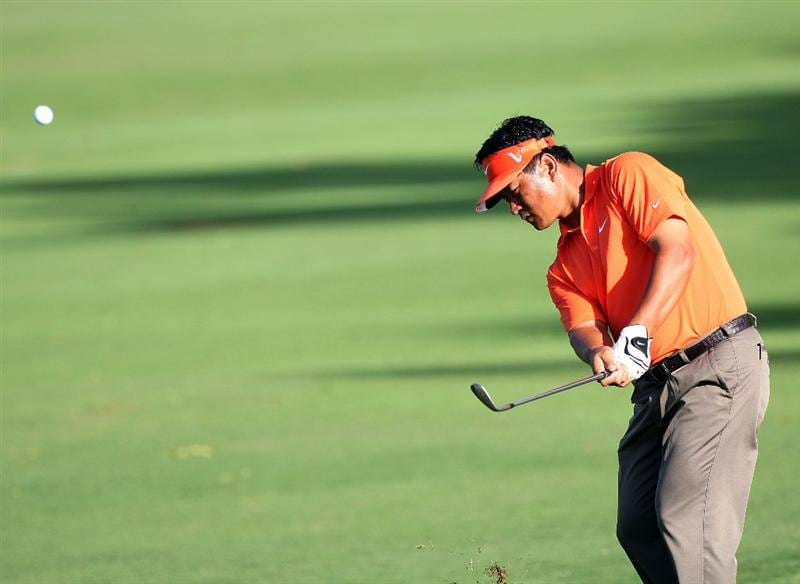HONOLULU - JANUARY 16:  K.J. Choi of South Korea plays a shot during the second round of the Sony Open at Waialae Country Club on January 16, 2009 in Honolulu, Hawaii.  (Photo by Sam Greenwood/Getty Images)