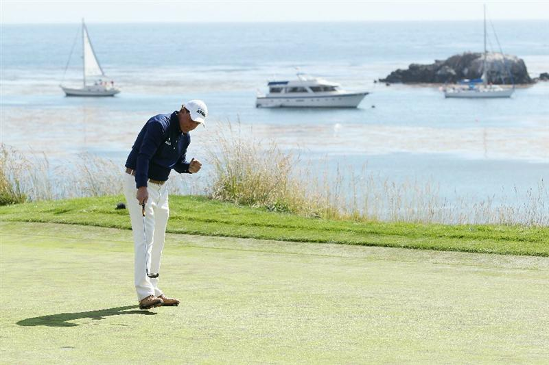 PEBBLE BEACH, CA - JUNE 19:  Phil Mickelson celebrates making birdie on the fifth hole during the third round of the 110th U.S. Open at Pebble Beach Golf Links on June 19, 2010 in Pebble Beach, California.  (Photo by Jeff Gross/Getty Images)