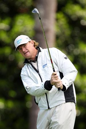 AUGUSTA, GA - APRIL 05:  Ernie Els of South Africa watches a shot during a practice round prior to the 2011 Masters Tournament at Augusta National Golf Club on April 5, 2011 in Augusta, Georgia.  (Photo by Jamie Squire/Getty Images)