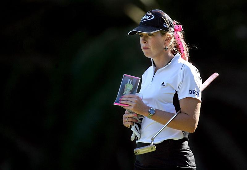 KAHUKU, HI - FEBRUARY 13:  Paula Creamer waits to hit her second shots pictured on the 14th hole during the second round of the SBS Open on February 13, 2009 at the Turtle Bay Resort in Kahuku, Hawaii.  (Photo by Andy Lyons/Getty Images)