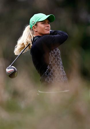 NORTH PLAINS, OR - AUGUST 30:  Suzann Pettersen tees off on the 4th hole during the final round of the Safeway Classic on August 30, 2009 on the Ghost Creek course at Pumpkin Ridge in North Plains, Oregon.  (Photo by Jonathan Ferrey/Getty Images)