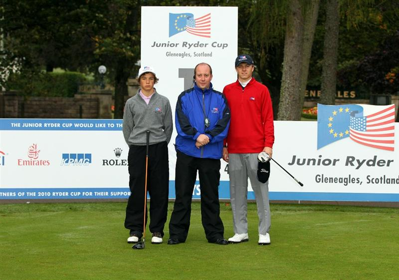 GLENEAGLES, SCOTLAND - SEPTEMBER 28:  (L-R) Albert Eckhardt, referee Gordon Dewar and Jordan Spieth pose for a photograph at the start of the second day of play at the Junior Ryder Cup at Gleneagles on September 28, 2010 near Muirton, Scotland. (Photo by Ian MacNicol/Getty Images)