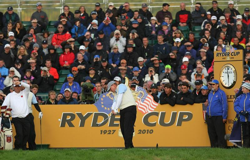 NEWPORT, WALES - OCTOBER 01:  Steve Stricker of the USA tees off on the 7th hole during the Morning Fourball Matches during the 2010 Ryder Cup at the Celtic Manor Resort on October 1, 2010 in Newport, Wales.  (Photo by Andy Lyons/Getty Images)