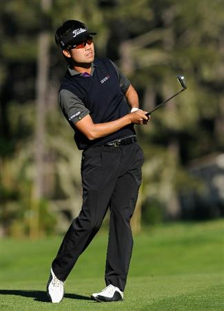 PEBBLE BEACH, CA - FEBRUARY 12:  Kevin Na plays his approach shot on the nineth hole during the third round of the AT&T Pebble Beach National Pro-Am at the Spyglass Hil Golf Course on February 11, 2011  in Pebble Beach, California  (Photo by Stuart Franklin/Getty Images)