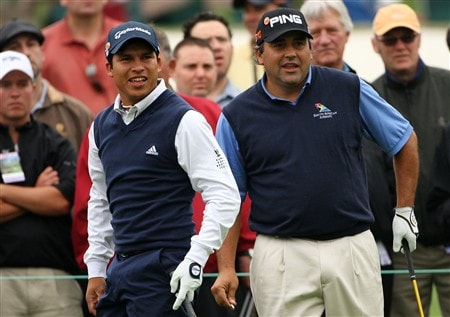 AUGUSTA, GA - APRIL 07:  Andres Romero and Angel Cabrera both of Argentina wait to hit a tee shot during the first day of practice prior to the start of the 2008 Masters Tournament at Augusta National Golf Club on April 7, 2008 in Augusta, Georgia.  (Photo by Andrew Redington/Getty Images)