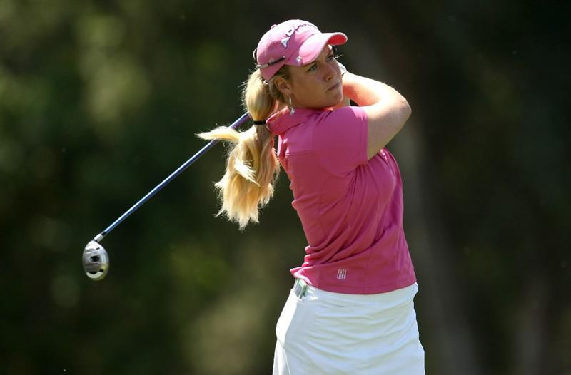 RANCHO MIRAGE, CA - APRIL 02:  Brittany Lincicome hits her tee shot on the sixth hole during the first round of the Kraft Nabisco Championship at Mission Hills Country Club on April 2, 2009 in Rancho Mirage, California.  (Photo by Stephen Dunn/Getty Images)