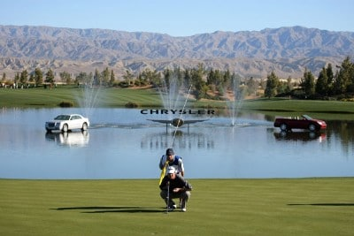 Jeff Quinney lines up his putt on the second hole during the third round of the 49th Bob Hope Chrysler Classic at the Classic Club on January 18, 2008 in Palm Desert, California. PGA TOUR - 2008 Bob Hope Chrysler Classic - Round ThreePhoto by Harry How/Getty Images