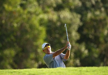 COOLUM BEACH, AUSTRALIA - DECEMBER 07:  Paul Gow of Australia plays a bunker shot during the second round of the Australian PGA Championship at the Hyatt Regency Resort on December 7, 2007 in Coolum Beach, Australia.  (Photo by Cameron Spencer/Getty Images)