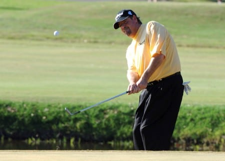 Steve Lowery chips into the green on the 14th hole  during the third round on the Copperhead Course of the 2005 Chrysler Championship October 29 in Palm Harbor, Florida.  Lowery and Carl Pettersson tied for the lead after three rounds.Photo by Al Messerschmidt/WireImage.com