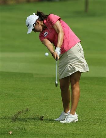 KUALA LUMPUR, MALAYSIA - OCTOBER 23 : Candie Kung of Korea Republic hits a fairway shot on the st hole during Round Two of the Sime Darby LPGA on October 23, 2010 at the Kuala Lumpur Golf and Country Club in Kuala Lumpur, Malaysia. (Photo by Stanley Chou/Getty Images)
