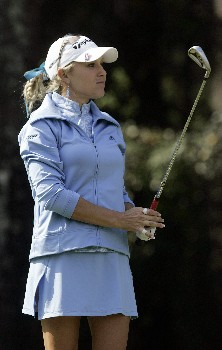 MOBILE, AL - NOVEMBER 10: Natalie Gulbis watches her shot to the 8th green during third round play in The Mitchell Company LPGA Tournament of Champions at Magnolia Grove Golf Course on November 10, 2007 in Mobile, Alabama.  (Photo by Dave Martin/Getty Images)