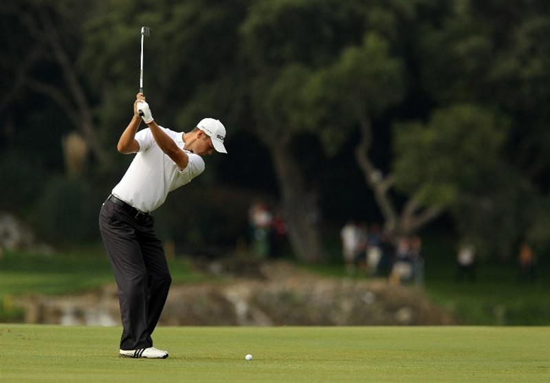 SOTOGRANDE, SPAIN - OCTOBER 28:  Martin Kaymer of Germany plays into the 4th green during the first round of the Andalucia Valderrama Masters at Club de Golf Valderrama on October 28, 2010 in Sotogrande, Spain.  (Photo by Richard Heathcote/Getty Images)