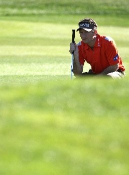 PEBBLE BEACH, CA - FEBRUARY 9:  Mark Wilson lines up a shot during the third round of the AT&T Pebble Beach National Pro-Am at Pebble Beach Golf Links February 9, 2008 in Pebble Beach, California.  (Photo by Jed Jacobsohn/Getty Images)