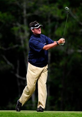 PALM COAST, FL - OCTOBER 31:  Todd Hamilton hits on the 12th hole during the second round of the Ginn sur Mer Classic at the Conservatory Golf Club on October 31, 2008 in Palm Coast, Florida.  (Photo by Sam Greenwood/Getty Images)