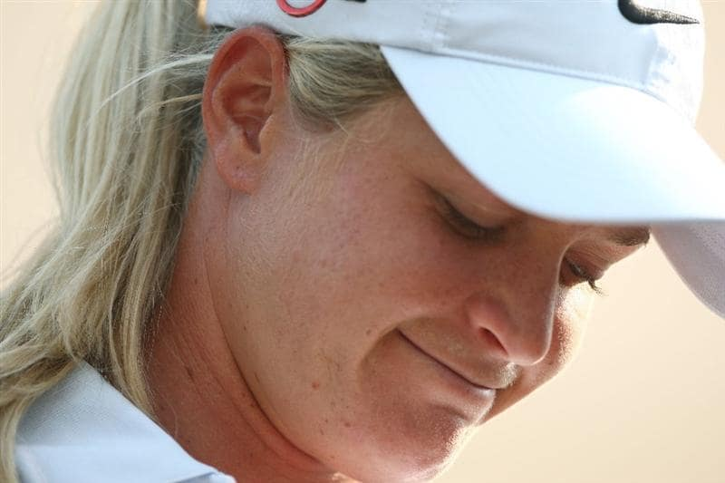 MORELIA, MEXICO- APRIL 25: Suzann Pettersen of Norway smiles in the scorers tent on the 18th green during the thrid round of the Corona Championship at the Tres Marias Residential Golf Club on April 25, 2009 in Morelia, Michoacan, Mexico. (Photo by Donald Miralle/Getty Images)