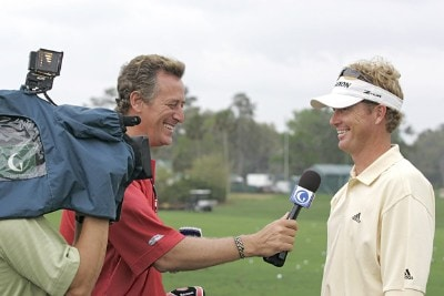 Tim Petrovic is interviewed by the Golf Channel during a practice round for THE PLAYERS Championship held at the TPC Stadium Course in Ponte Vedra Beach, Florida on Monday, March 21, 2006.Photo by Michael Cohen/WireImage.com
