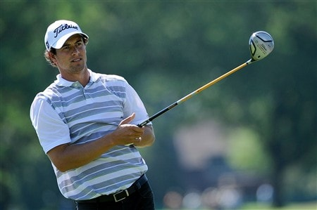 BLOOMFIELD HILLS, MI - AUGUST 06:  Adam Scott of Australia hits a shot during a practice round prior to the 90th PGA Championship at Oakland Hills Country Club on August 6, 2008 in Bloomfield Township, Michigan.  (Photo by Sam Greenwood/Getty Images)