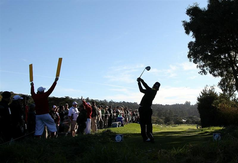 PEBBLE BEACH, CA - FEBRUARY 13:  Hunter Mahan tees off on the second hole at the AT&T Pebble Beach National Pro-Am- Final Round at the Pebble Beach Golf Links on February 13, 2011 in Pebble Beach, California.  (Photo by Jed Jacobsohn/Getty Images)