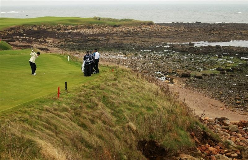 KINGSBARNS, SCOTLAND - OCTOBER 09:  Martin Erlandsson of Sweden tees off on the 15th hole during the third round of The Alfred Dunhill Links Championship at the Kingsbarns Golf Links on October 9, 2010 in Kingsbarns, Scotland.  (Photo by Warren Little/Getty Images)