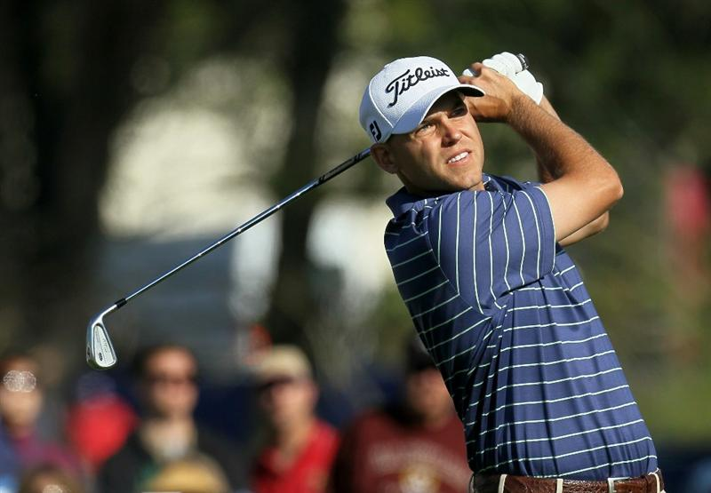 LA JOLLA, CA - JANUARY 29:  Bill Haas hits his tee shot on the 16th hole during round three of the Farmers Insurance Open at Torrey Pines South Course on January 29, 2011 in La Jolla, California.  (Photo by Stephen Dunn/Getty Images)