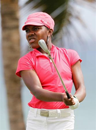 MONTEGO BAY, JAMAICA - APRIL 15:  Mariah Stackhouse of the United States tees off the sixth hole during the first round of The Mojo 6 Jamaica LPGA Invitational at Cinnamon Hill Golf Course on April 15, 2010 in Montego Bay, Jamaica.  (Photo by Kevin C. Cox/Getty Images)